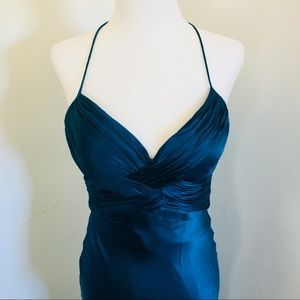 Cache Teal Silk Prom Dress